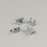 Set of 4 End Caps For Standard With Trim Aluminium Profile, Grey