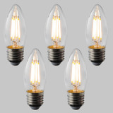 Candle C35 LED Filament Bulb - E27 - 400lm - 2700K Very Warm White - Dimmable - Pack of 5