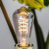 Trafford LED Squirrel Cage Spiral Filament Bulb, Smoked Glass, Dimmable