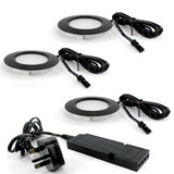 Ready to Connect Furniture LED Spotlight Kit - 3 Neutral White Recessed Puck Lights, Black (Including Power Supply)