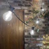 10 Metre, 20 Clear Filament GLS Lamp Festoon String, 500mm Spacing with 20 bulbs, B22, Cool White 6000K4