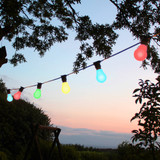 20 metre, 40 GLS Lamp Festoon String, 500mm Spacing with 40 bulbs, B22, Multi Colour