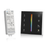 Battery Powered RGB+CCT Wall Plate Black + 5-in-1 Receiver Bundle - 4 Zone