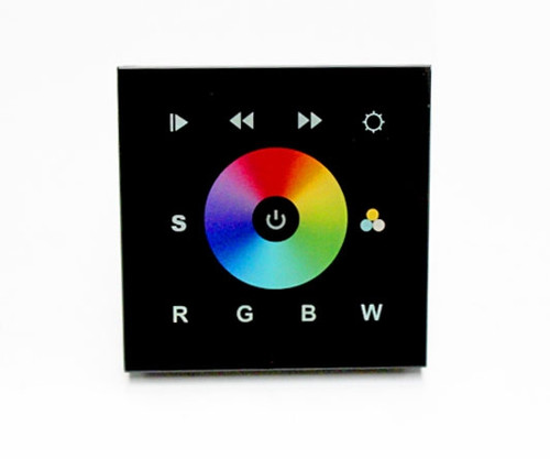Black Glass Fronted DMX RGB Colour Change Wall Panel Controller