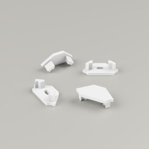 Set of 4 End Caps for Straight Corner Aluminium Extrusion Profile, White