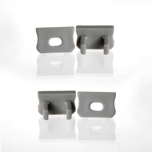 Set of 4 End Caps for Mini Aluminium Extrusion Profile, Grey