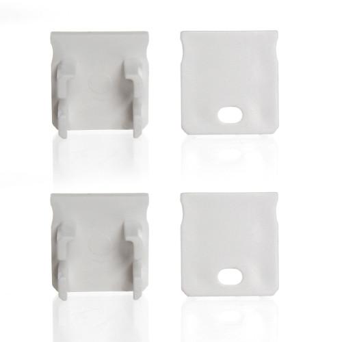 Set of 4 End Caps for Extra Deep With Trim Aluminium Extrusion Profile, White