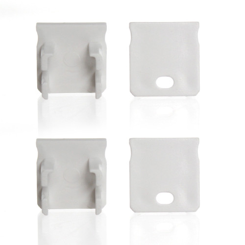 Set of 4 End Caps for Extra Deep With Trim Aluminium Extrusion Profile, White