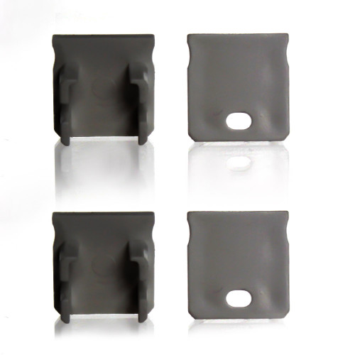 Set of 4 End Caps for Extra Deep With Trim Aluminium Extrusion Profile, Grey
