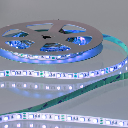 12V Premium LED Tape, RGB Colour Changing, 14.4w p/m, IP20 (5m Reel)