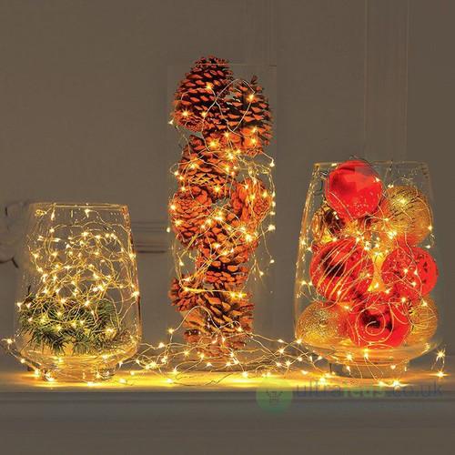 Warm White LED Micro Battery Fairy Lights - 40 LED 4 Metre Copper String