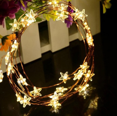 Warm White STARS LED Micro Battery Fairy Lights - 40 LED 4 Metre Silver String