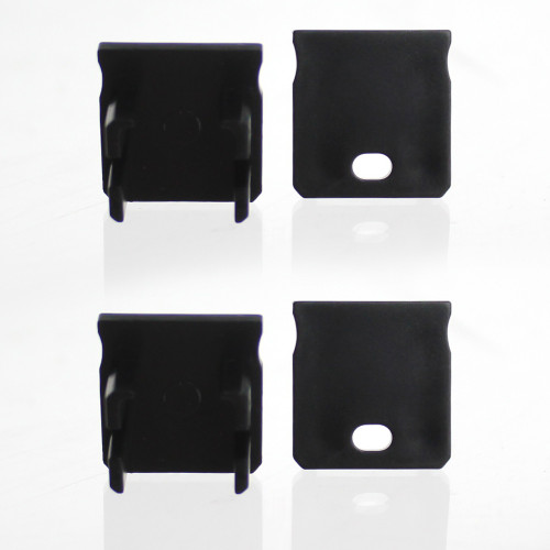 Set of 4 End Caps for Extra Deep With Trim Aluminium Extrusion Profile, Black