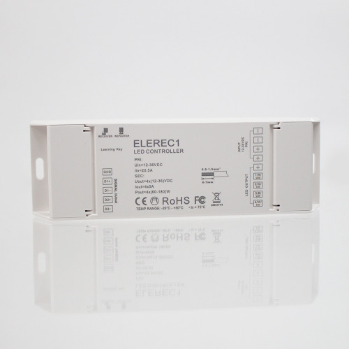 Elencho 4 Channel Receiver for 12/24V Single Colour CCT, RGB and RGBW LED Tapes