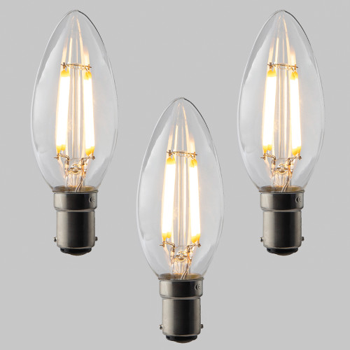 Candle C35 LED Filament Bulb - B15 - 400lm - 2700K Very Warm White - Dimmable - Pack of 3