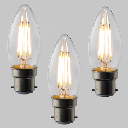 Candle C35 LED Filament Bulb - B22 - 400lm - 2700K Very Warm White - Dimmable - Pack of 3