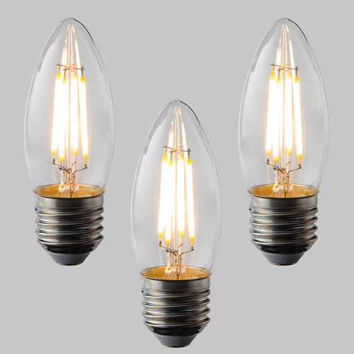 Candle C35 LED Filament Bulb - E27 - 400lm - 2700K Very Warm White - Dimmable - Pack of 3