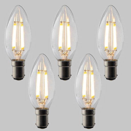 Candle C35 LED Filament Bulb - B15 - 400lm - 2700K Very Warm White - Dimmable - Pack of 5