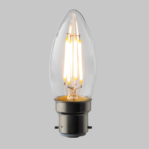 Candle C35 LED Filament Bulb - B22 - 400lm - 2700K Very Warm White - Dimmable - Pack of 5