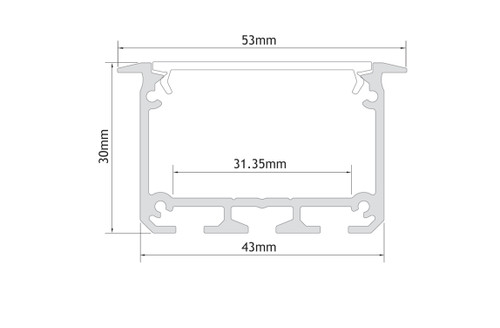 APIS with Trim Channel Profile 30x53mm, Silver, 3 Metre Length
