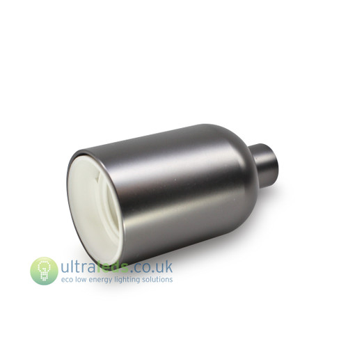 Brushed Metal Grey Lamp Holder ( E27 / Edison Screw )