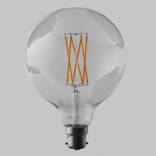 G125 6W Large Globe Dimmable LED Filament Bulb in Bayonet Cap (B22)