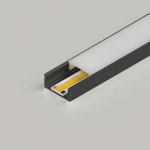 Standard Aluminium Channel 17x8mm, Black, 2 Metre Length