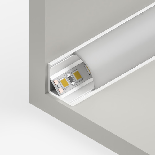 Small Corner Aluminium Channel 1616 in White - 2 Metre Length