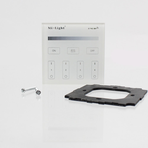 Wall Mounted 4 Zone Mains Powered Controller - For White/Single Colour Receivers