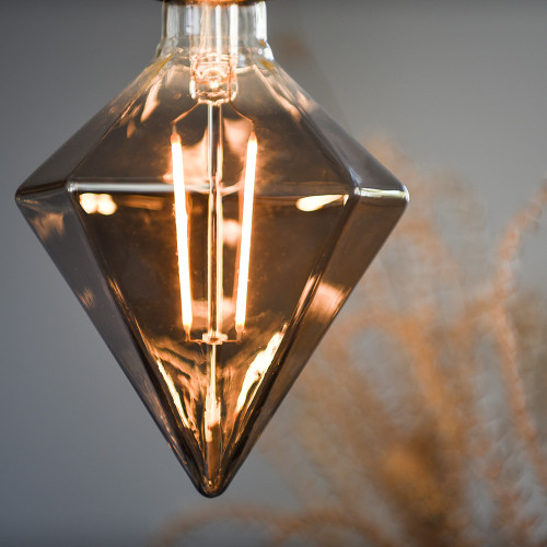 Trafford Diamond LED Filament Bulb, Smoked Glass, Dimmable