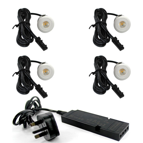 Plug and Play Micro LED Spotlight Silver 12v DC 0.7w 4000k