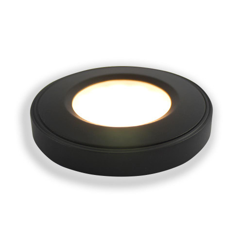 Ready to Connect Furniture LED Spotlight Kit - 3 Warm White Surface Mounted Puck Lights, Black (Including Power Supply)