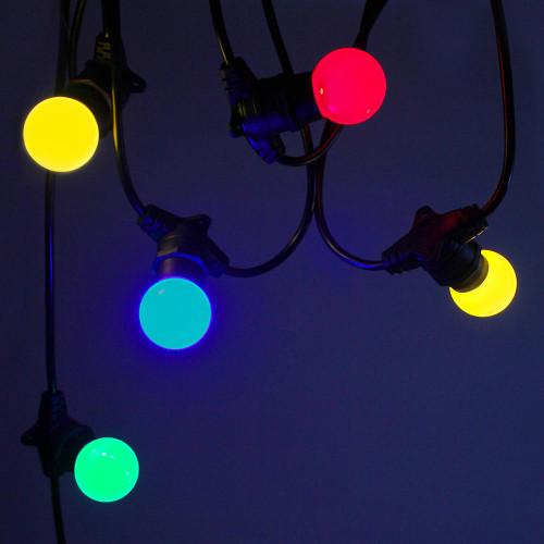 20 metre, 40 Golf Ball Lamp Festoon String, 500mm Spacing with 40 bulbs, B22, Multi Colour