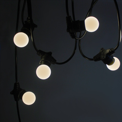 50 metre, 50 Golf Ball Lamp Festoon String, 1000mm Spacing with 50 bulbs, B22, Warm White