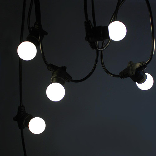 50 metre, 50 Golf Ball Lamp Festoon String, 1000mm Spacing with 50 bulbs, B22, Cool White