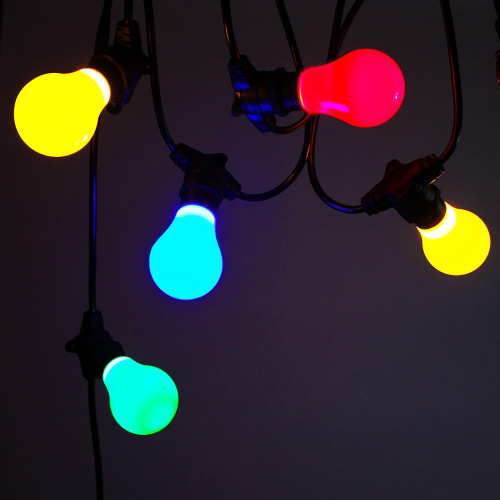 50 metre, 50 GLS Lamp Festoon String, 1000mm Spacing with 50 bulbs, B22, Multi Colour
