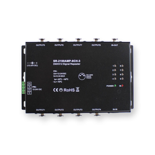 DMX Signal Amplifier. 12-24VDC 8 Way Splitter