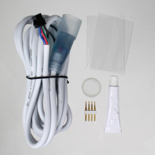 Slimline Water Resistant RGB 24V Circular Neon Flex Accessories Pack, IP65