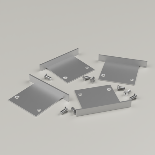 Set of 4 End Caps for 3535R5 Silver, Includes 8 Screws