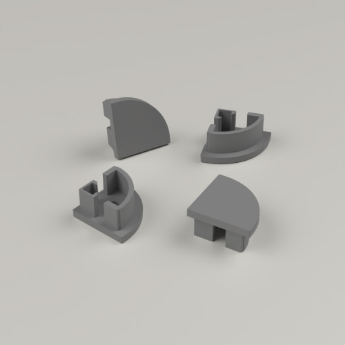 Set of 4 End Caps For Small Corner Channel 16x16mm, Dark Grey