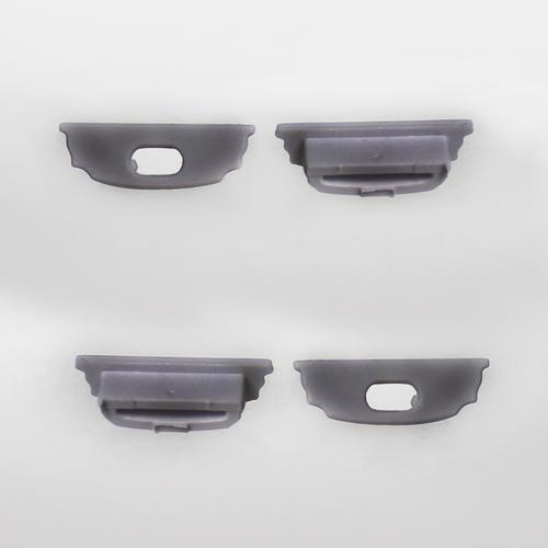 Set of 4 End Caps for Bendable Aluminium Extrusion Profile 18x5.7mm, Dark Grey