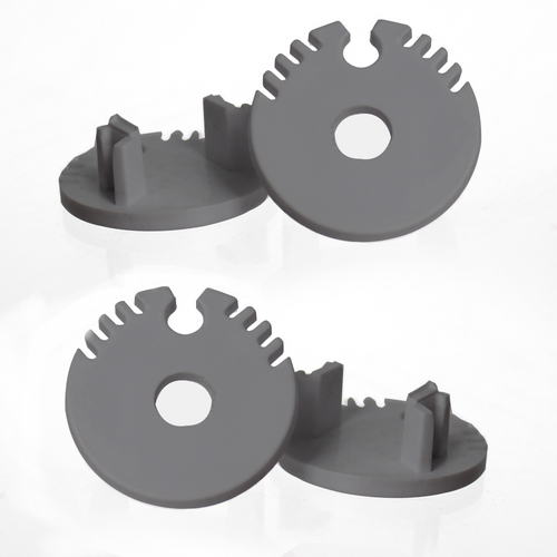 Set of 4 End Caps For Circular Channel Profile 20.6mm, Dark Grey