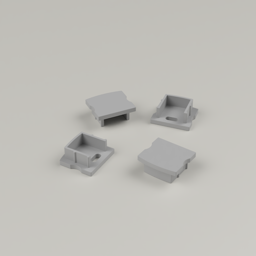 Set of 4 End Caps for Extra Deep V1 Channel 17.1x14.5mm - Dark Grey