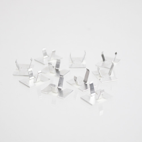 Pack of 50 Aluminium Mounting Clips with self adhesive base. Base 16x11mm