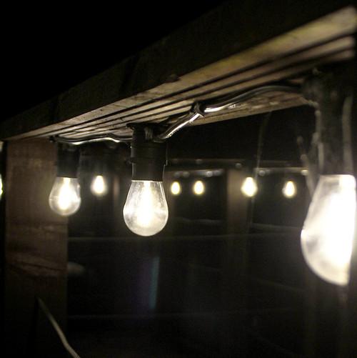 10 Metre, 20 Clear S14 Lamp Festoon String, 500mm Spacing with 20 bulbs, B22, Warm White