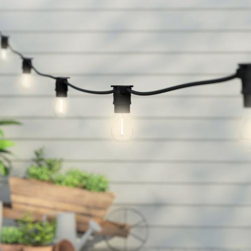 10 Metre, 20 Clear S14 Lamp Festoon String, 500mm Spacing with 20 bulbs, B22, Warm White2