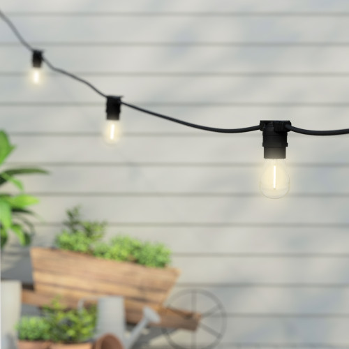 15 Metre, 20 Clear S14 Lamps Festoon String, 750mm Spacing with 20 bulbs, B22, Warm White2