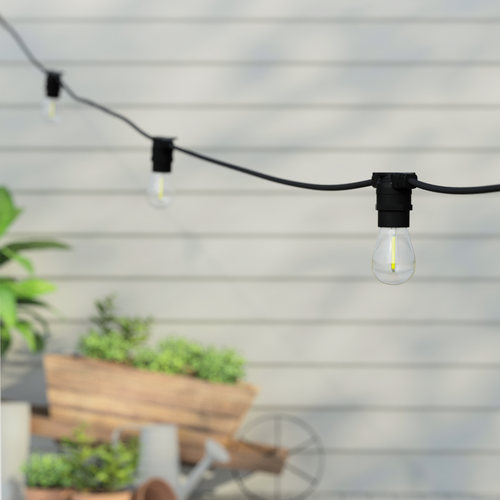 15 Metre, 20 Clear S14 Lamps Festoon String, 750mm Spacing with 20 bulbs, B22, Warm White1