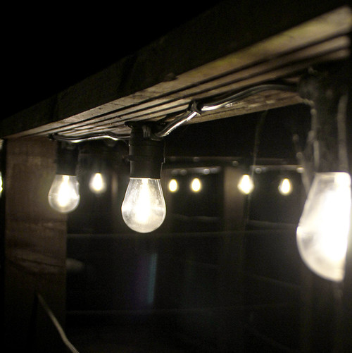 20 Metre, 40 Clear S14 Lamp Festoon String, 500mm Spacing with 40 bulbs, B22, Warm White