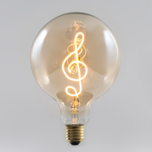 Music Note Filament Bulb, Amber Glass Finish, Dimmable